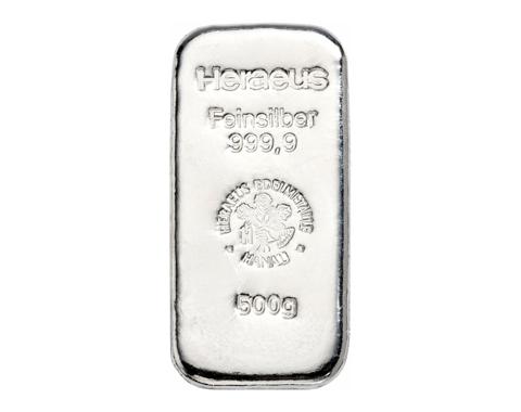 500 Gramm Heraeus Silberbarren